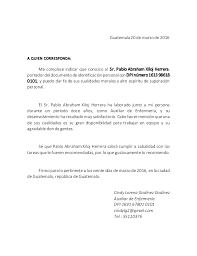 Carta De Recomendacion Personal No Laboral Carta Recomendacion Laboral Para Enfermera Ejemplo De Carta