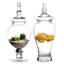 Decorative Glass Jars With Lids Amazon Set of 100 Large Decorative Clear Glass Apothecary Jars 14