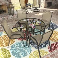 luxury lakeview outdoor furniture or bay 5 piece sling dining set with stacking chairs and glass table by outdoor designs 99 lakeview outdoor furniture