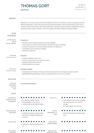 Reception Resume Reception Resume Samples And Templates Visualcv