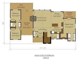 dog trot floor plan main level with screened