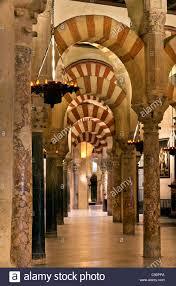 Moorish columns and arches inside the Mezquita, Cordoba, Spain