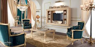 Living Room Luxury Furniture Living Room With Velvet Upholstery And Furniture Covered By Gold