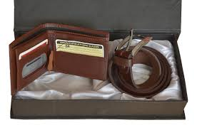 exclusive quality men leather wallet belt gift box