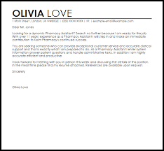 Pharmacy Assistant Cover Letter Sample Cover Letter Templates