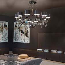large modern smoked black and white crystal chandelier