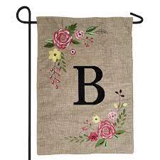 spring rose monogram letter burlap