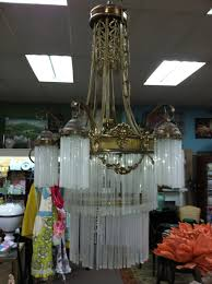 gorgeous antique art nouveau 9 light bronze chandelier with glass s circa 19th century for