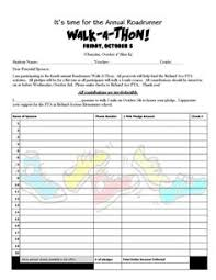 Walkathon Pledge Sheet Under Fontanacountryinn Com