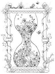 花と砂時計のベクトル図です時間開花春落書き抗ストレス対策大人用の塗り絵