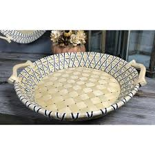 criss cross black and unfinished round basket tray