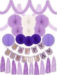 Purple Happy Birthday Banner Amazon Com Meant2tobe Purple Birthday Decoration Set For Girl