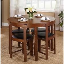 5 piece round dining set walnut wood living room kitchen furniture black leather