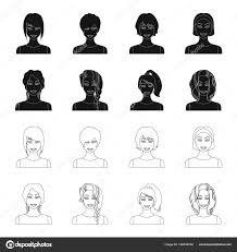 女性ヘアスタイル黒デザインのセットのコレクションの概要アイコンの