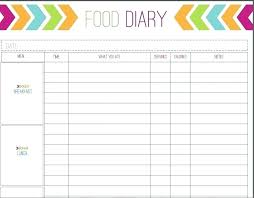 Diet Log Sheets Printable Food Journal Sheets Diet Template Daily Diary Free