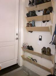 Shoe Organizer On Wall Wooden Wall Mounted Homemade Shoe Racks Behind Near The Interior