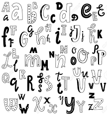 ビンテージ ベクトル フォントのアルファベットが書かれたかわいい英語の手小文字し大文字カードレ
