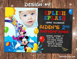 Mickey Mouse Clubhouse 2nd Birthday Invitations Mickey Mouse Clubhouse Swim Splash Slide Birthday Party