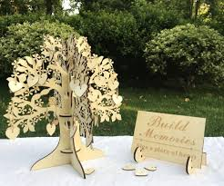 2019 event party signature books wedding guest book 3d wood tree guest book wishing tree wooden hearts pendant drop ornaments for wedding from