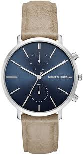 men s michael kors jaryn chronograph tan leather strap watch mk8540 loading zoom