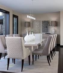 like these fabric chairs too contemporary dining room design ideas with white marble dining table and modern decorative wall arts