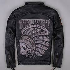 2019 american classic motorcycle suit men s genuine leather jacket black indian chief skulls embroidery men flight coat from championsjersey