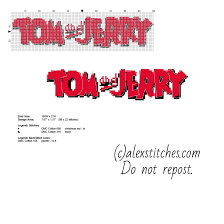 Tom And Jerry Cartoon Small Logo With Back Stitch Free Download