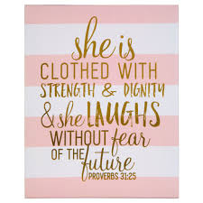 proverbs 31 25 striped canvas wall