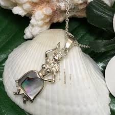 fra girl shell pendant necklace with the hawaiian jewelry silver chain