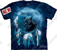 Triko Vlk Lapač Snů Black Wolf Spirit Shield Prorockshop