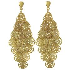filigrana chandelier gold tone drop clip on earrings