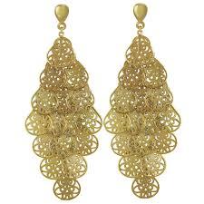 filigrana chandelier gold tone drop clip on earrings