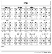 Printable Calendars For 2020 2020 Printable Calendar Printable Yearly Calendar