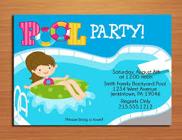 best printable colorful pool and beach party invitation and pool party invitation lovely girl pool party invitation card idea blue color and pool