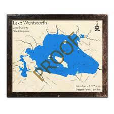 Lake Wentworth Nh 3d Wood Topo Map
