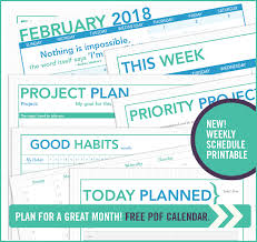 Printable Project Planner And Calendar February 2018