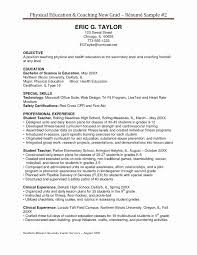 Physical Education Resume Template Beautiful Fresh First Aid