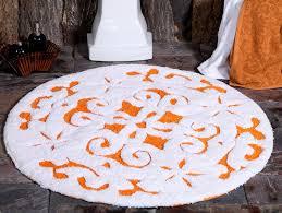 saffron fabs bath rug cotton 36 inch round damask anti skid