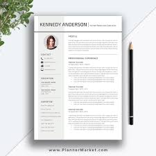 Professional Resume Template Cv Template Creative Simple Resume Design Cover Letter Ms Word Instant Download The Kennedy Resume
