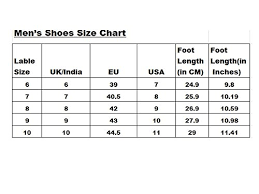 Shoe Size Chart Men India Shoes Size Chart For Men India