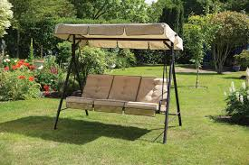 luxury cream 3 seater garden swing seat hammock with deep cushions and adjule canopy