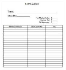 Sample Bid Sheets For Silent Auction Free Printable Silent Auction Template Silent Auction Bid Sheet