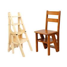 wooden folding library ladder chair kitchen furniture step ladder school convertible ladder chair step stool natural