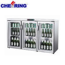 electric counter top beverage bottle display cooler with glass door