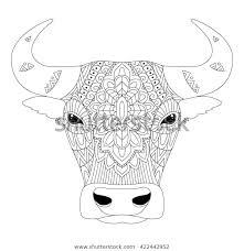 Stock Vektor Vector Illustration Bull Zentangle Ethnic Style Bez