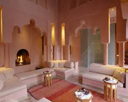 moroccan interior with pink decor also futon sofa and corner fireplace
