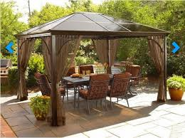 Outdoor Square Metal Patio Table Round Glass Top Dining With