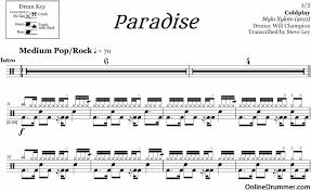 drum sheet paradise coldplay drum sheet music onlinedrummer com