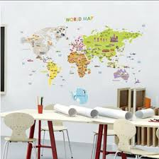 >world map 61005 removable nursery wall art decor mural decal sticker  picture 1 of 12
