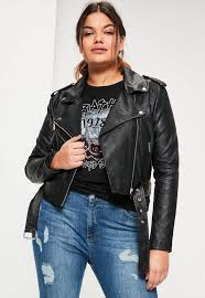 leather jackets plus size plus size black faux leather belted biker jacket missguided australia